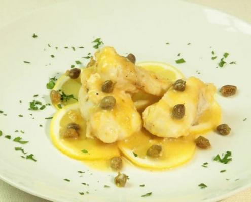 Piatto di rana pescatrice al limone